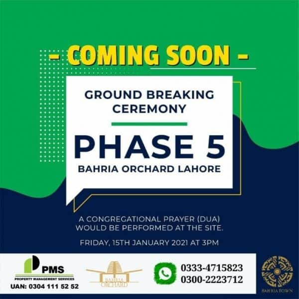 Ground Breaking Ceremony Phase 5 Bahria Orchard Lahore New Booking