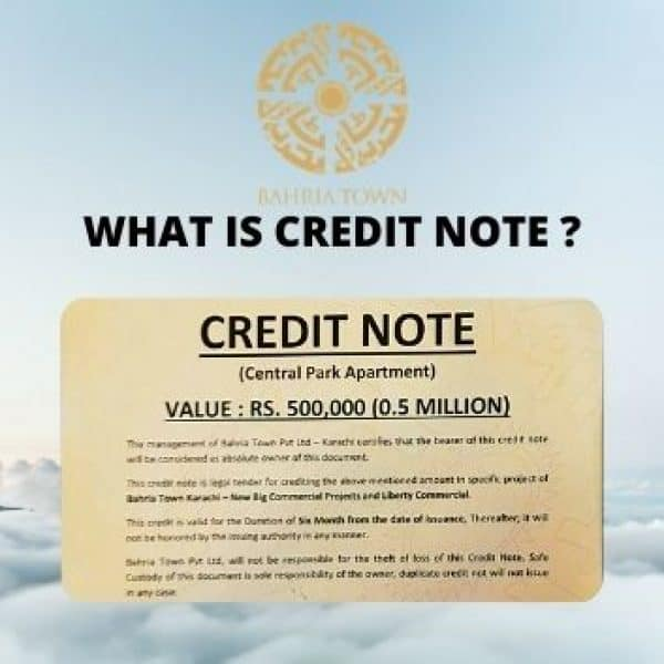 What is Credit Note by Bahria Town Management, How to Use it ?