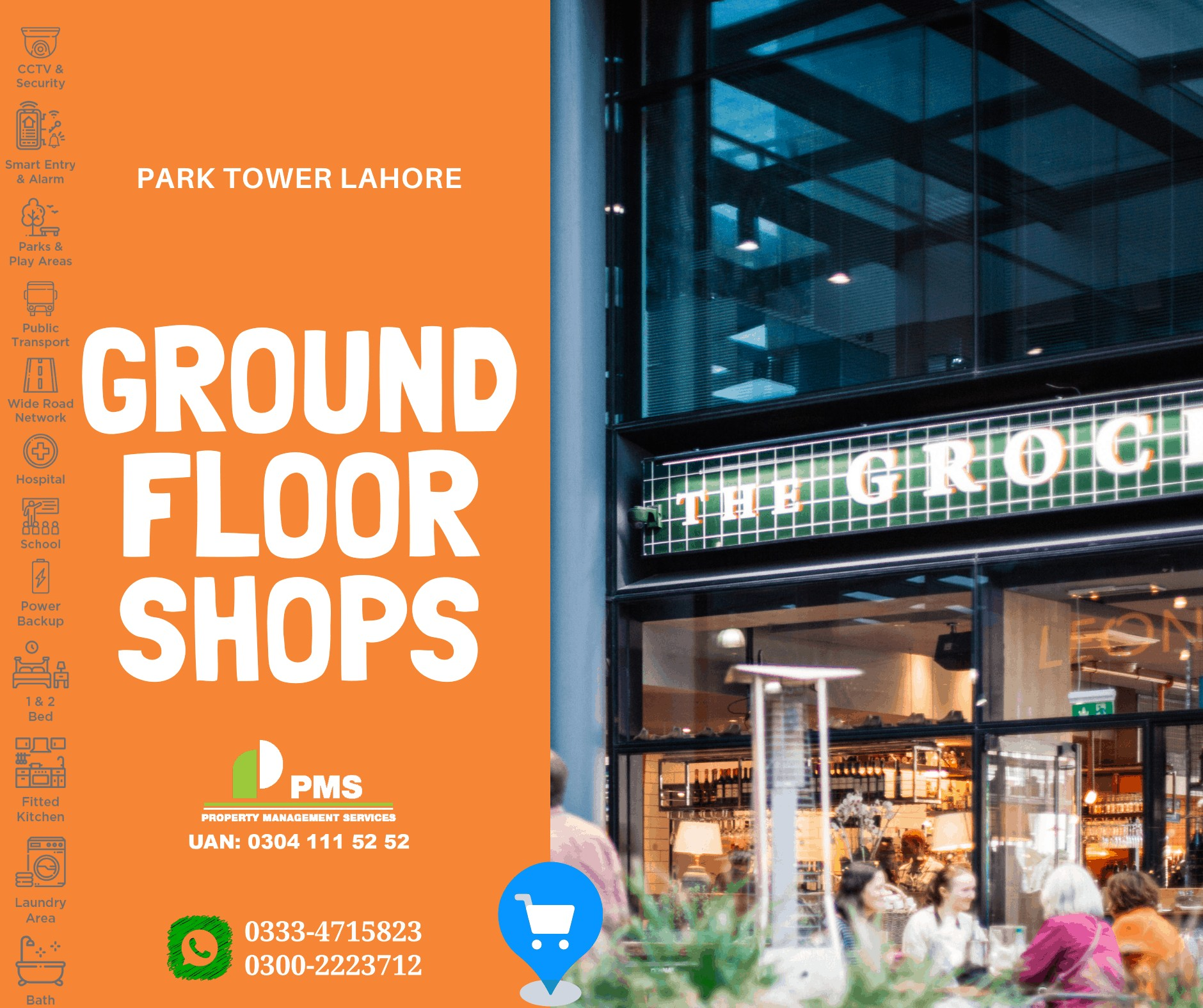Front Shop with Mezzanine For Sale Park Tower New Lahore City